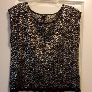 Black & silver lace top